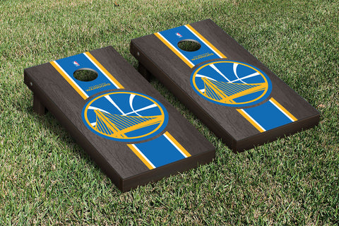 Golden State Warriors Onyx Stained Stripe Version Cornhole Set Victory Tailgate 28654