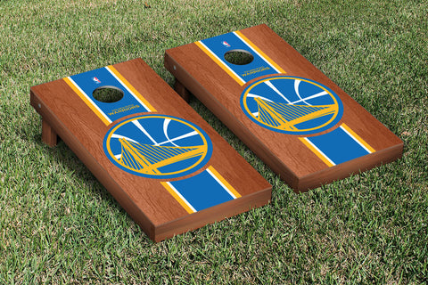 Golden State Warriors Rosewood Stained Stripe Version Cornhole Set Victory Tailgate 28655