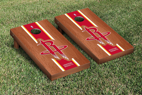 Houston Rockets Rosewood Stained Stripe Version Cornhole Set Victory Tailgate 28669