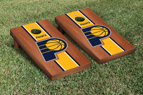Indiana Pacers Rosewood Stained Stripe Version Cornhole Set Victory Tailgate 28682