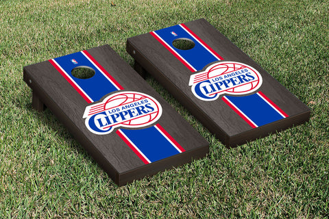 Los Angeles Clippers Onyx Stained Stripe Version Cornhole Set Victory Tailgate 28694