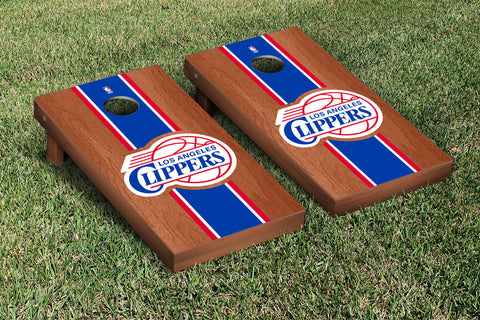 Los Angeles Clippers Rosewood Stained Stripe Version Cornhole Set Victory Tailgate 28695