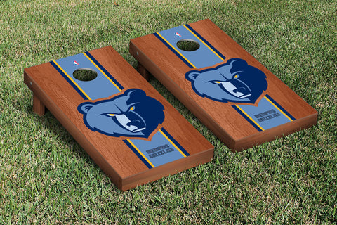 Memphis Grizzlies Rosewood Stained Stripe Version Cornhole Set Victory Tailgate 28708