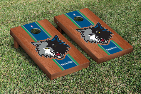 Minnesota Timberwolves Rosewood Stained Stripe Version Cornhole Set Victory Tailgate 28786