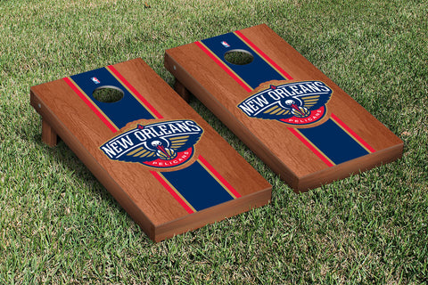 New Orleans Pelicans Rosewood Stained Stripe Version Cornhole Set Victory Tailgate 28803