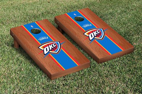 Oklahoma City Thunder Rosewood Stained Stripe Version Cornhole Set Victory Tailgate 28827