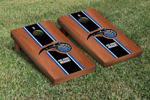 Orlando Magic Rosewood Stained Stripe Version Cornhole Set Victory Tailgate 28847