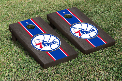Philidelphia Sixers 76ers Onyx Stained Stripe Version Cornhole Set Victory Tailgate 28862
