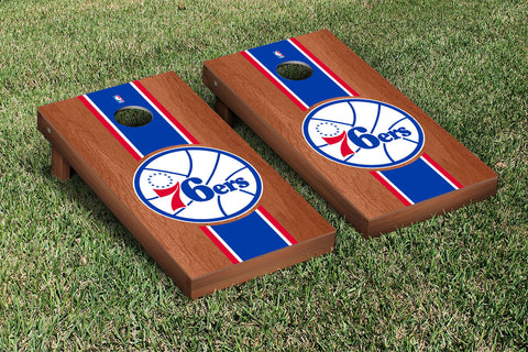 Philidelphia Sixers 76ers Rosewood Stained Stripe Version Cornhole Set Victory Tailgate 28863