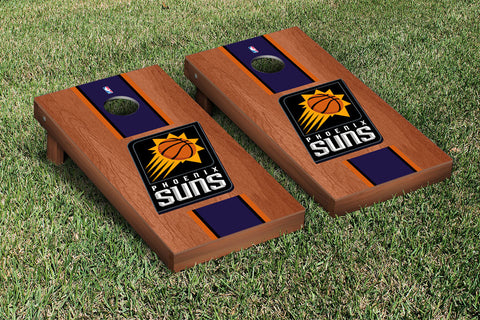 Phoenix Suns Rosewood Stained Stripe Version Cornhole Set Victory Tailgate 28879