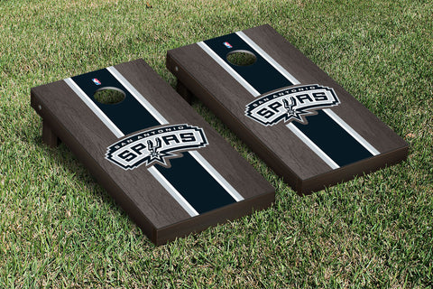 San Antonio Spurs Onyx Stained Stripe Version Cornhole Set Victory Tailgate 28929