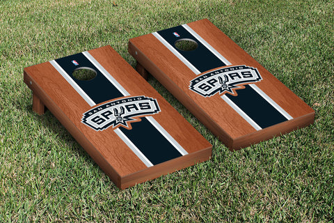 San Antonio Spurs Rosewood Stained Stripe Version Cornhole Set Victory Tailgate 28930