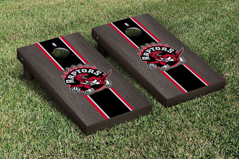 Toronto Raptors Onyx Stained Stripe Version Cornhole Set Victory Tailgate 28945
