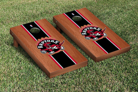 Toronto Raptors Rosewood Stained Stripe Version Cornhole Set Victory Tailgate 28946