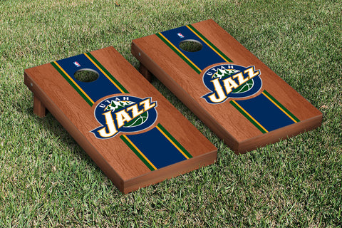 Utah Jazz Rosewood Stained Stripe Version Cornhole Set Victory Tailgate 28961