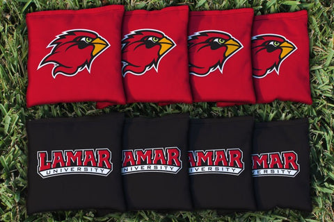 Lamar LU Cardinals Corn Hole Bag Logo Set - corn filled