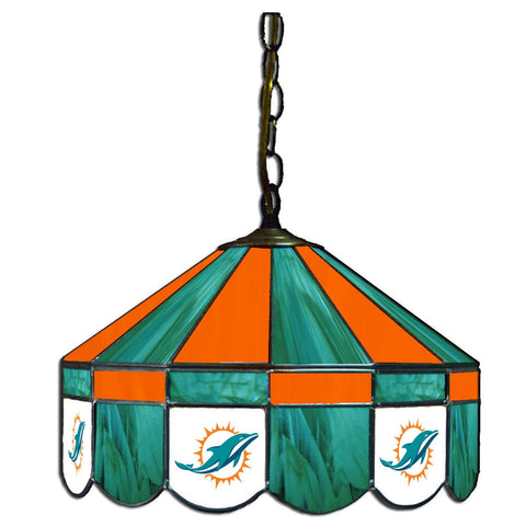 "Miami Dolphins 16"" Glass Lamp for fan cave, man caves and gaming rooms"