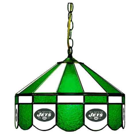 "New York Jets 16"" Glass Lamp for fan cave, man caves and gaming rooms"