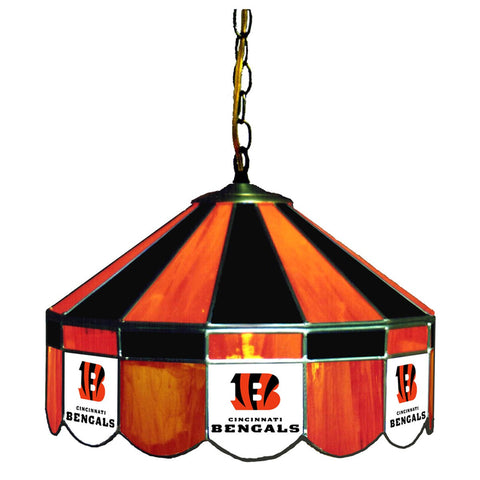 "Cincinnati Bengals 16"" Glass Lamp for fan cave, man caves and gaming rooms"