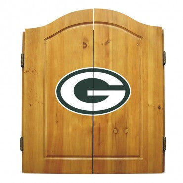 Green Bay Packers Dart Cabinet Set with Darts and bristle dartboard