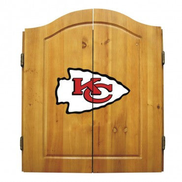 Kansas City Chiefs Dart Cabinet Set with Darts and bristle dartboard