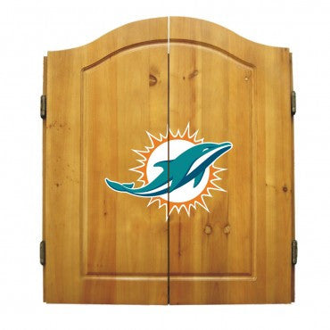 Miami Dolphins Dart Cabinet Set with Darts and bristle dartboard