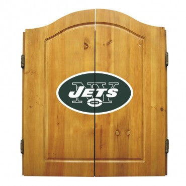 New York Jets Dart Cabinet Set with Darts and bristle dartboard
