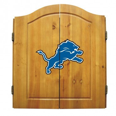 Detroit Lions Dart Cabinet Set with Darts and bristle dartboard