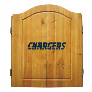 San Diego Chargers Dart Cabinet Set with Darts and bristle dartboard