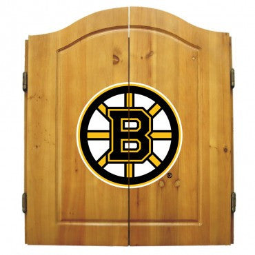 Boston Bruins Dart Cabinet Set with Darts and bristle dartboard