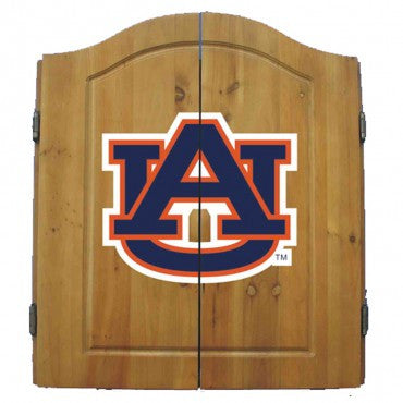 Auburn University Dart Cabinet Set with Darts and bristle dartboard