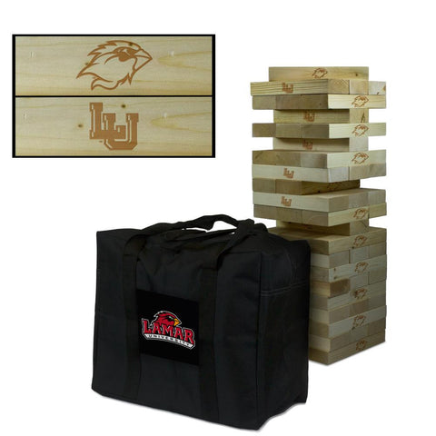 Lamar University Giant Tumble Tower with Cardinals carry case