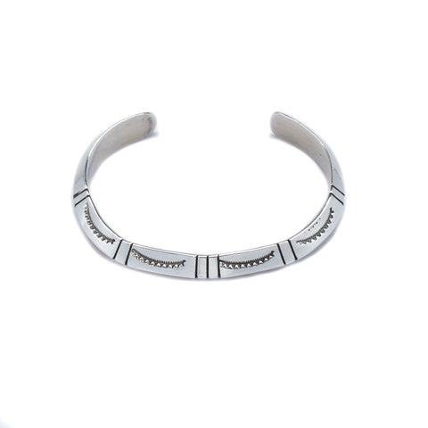 Nora Tahe Stamped Sterling Silver Cuff Bracelet