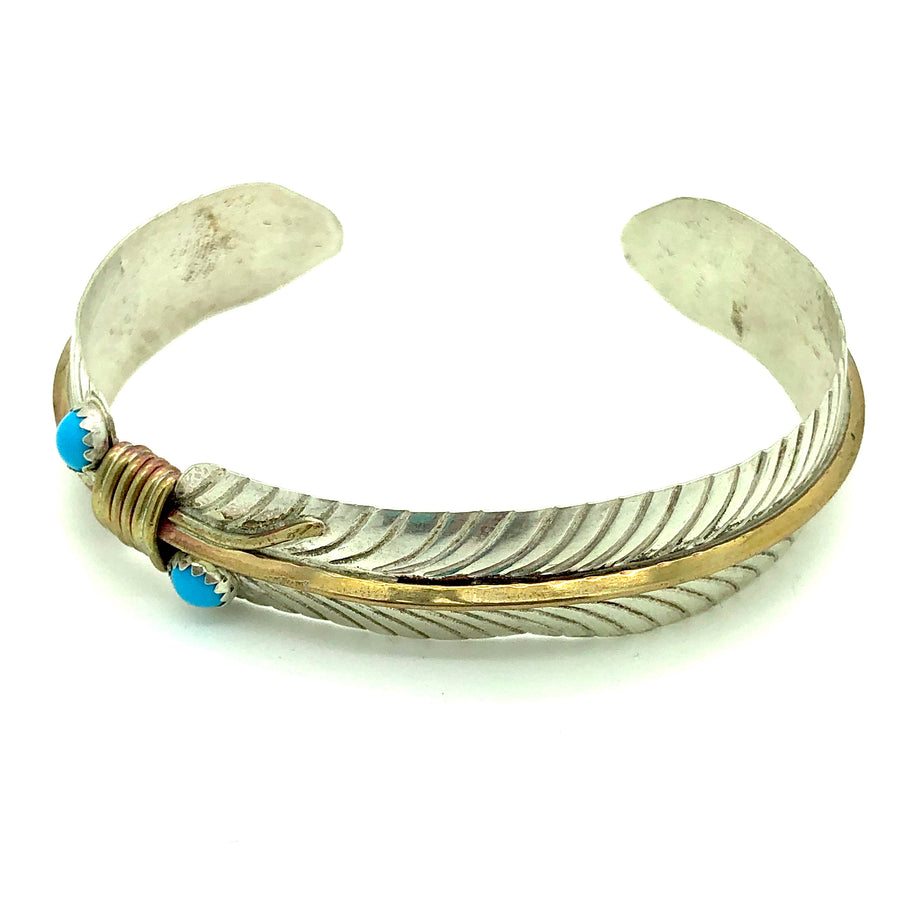Turquoise & Brass Feather Bracelet