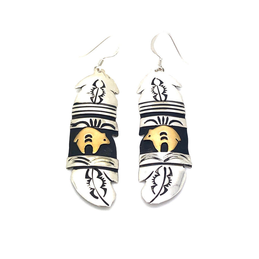 Sterling Bear Feather Earrings