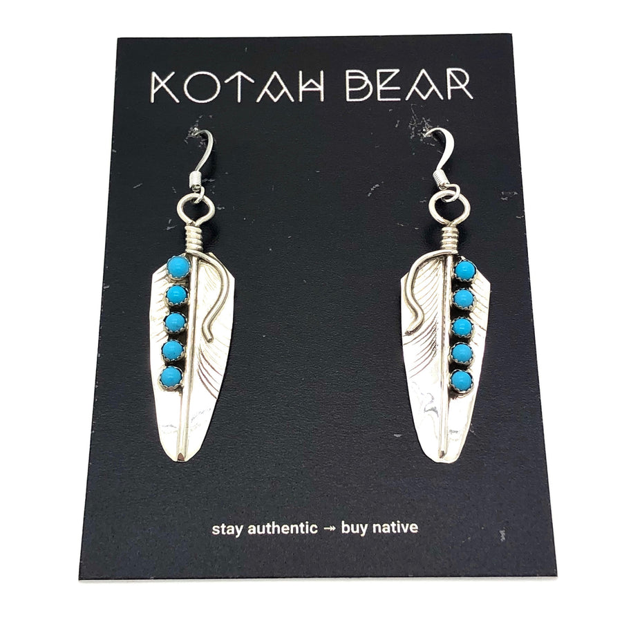 Turquoise Dots Feather Earrings