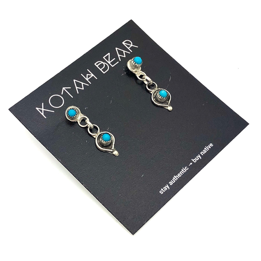 Dainty Round Turquoise Earrings
