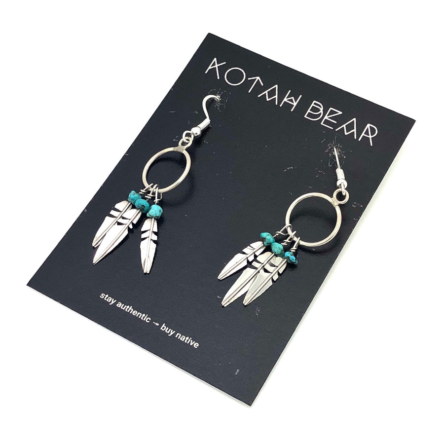 Turquoise Feather Night Earrings