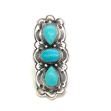 Tri Turquoise Stone Ring