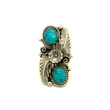 Turquoise & Feather Ring