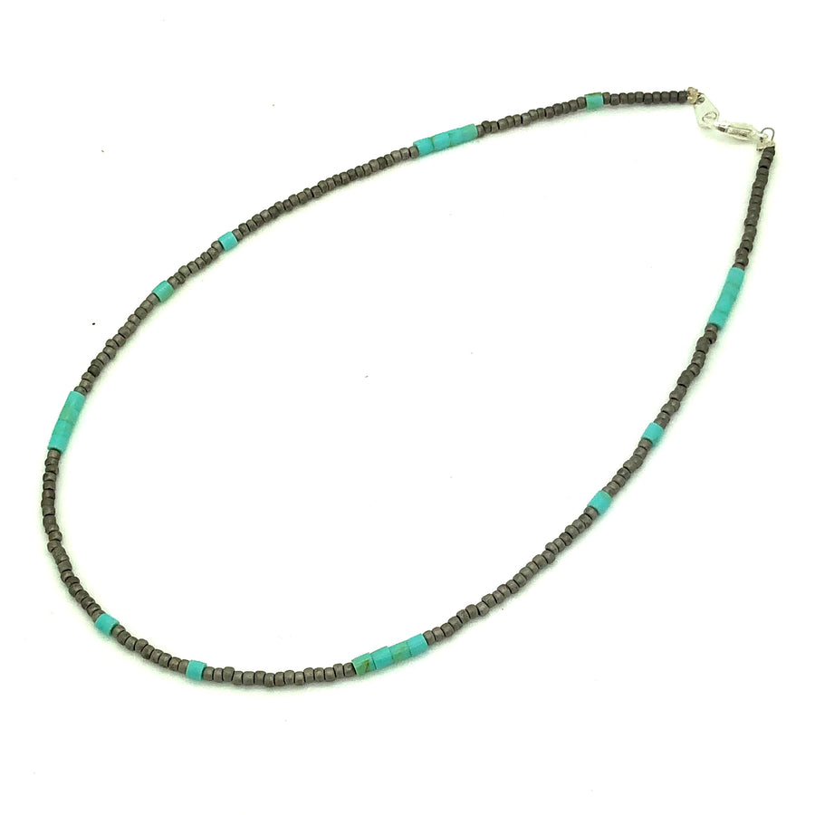 Dainty Gray & Turquoise Beaded Necklace