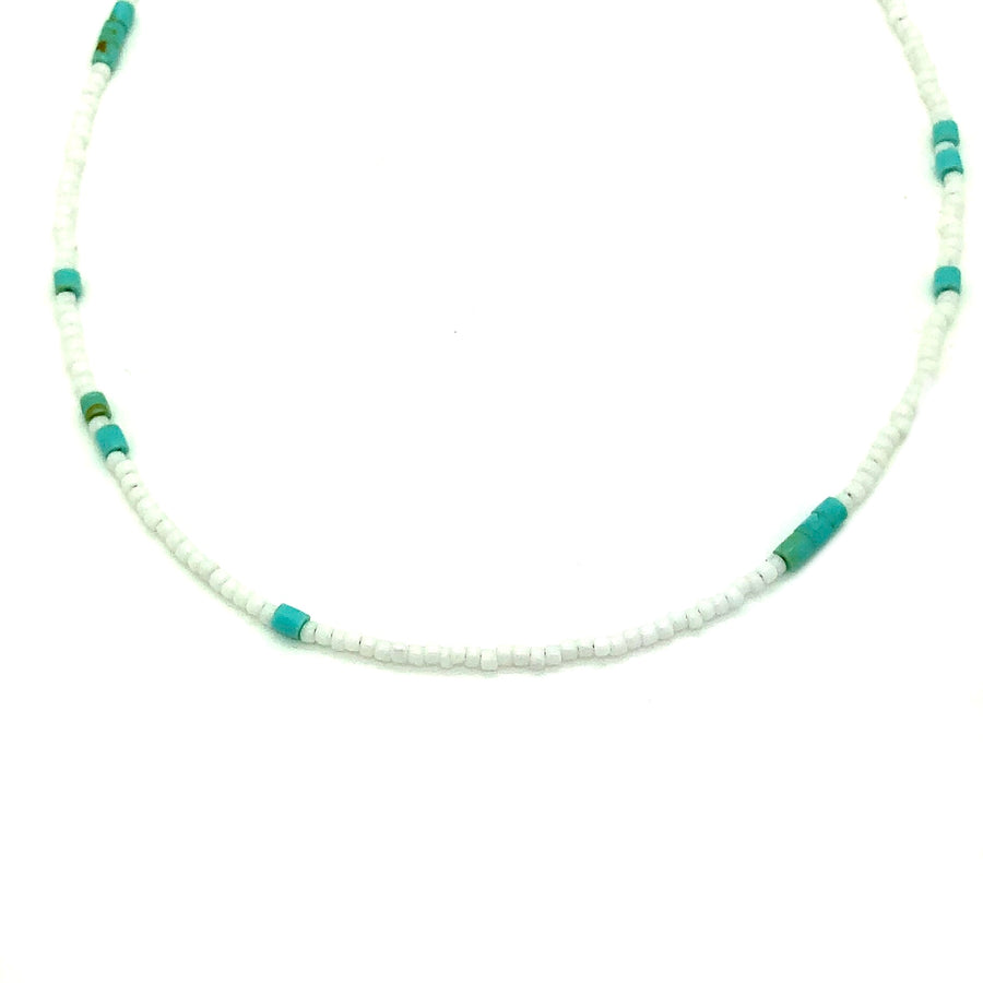 Dainty White & Turquoise Beaded Necklace