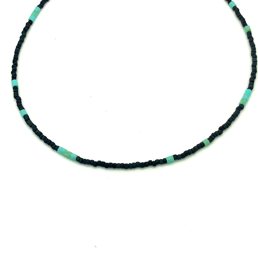 Dainty Black and Turquoise Beaded Necklace