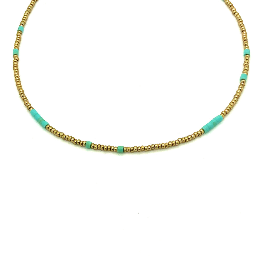 Dainty Gold and Turquoise Beaded Necklace