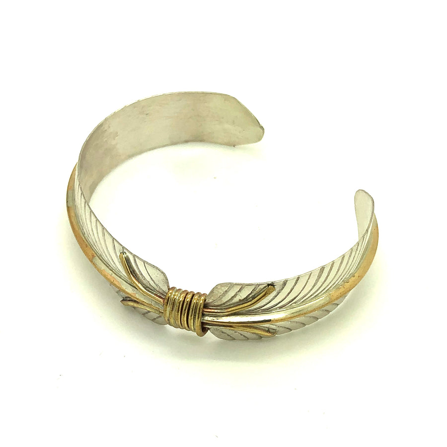 Sterling & Brass Feather Bracelet