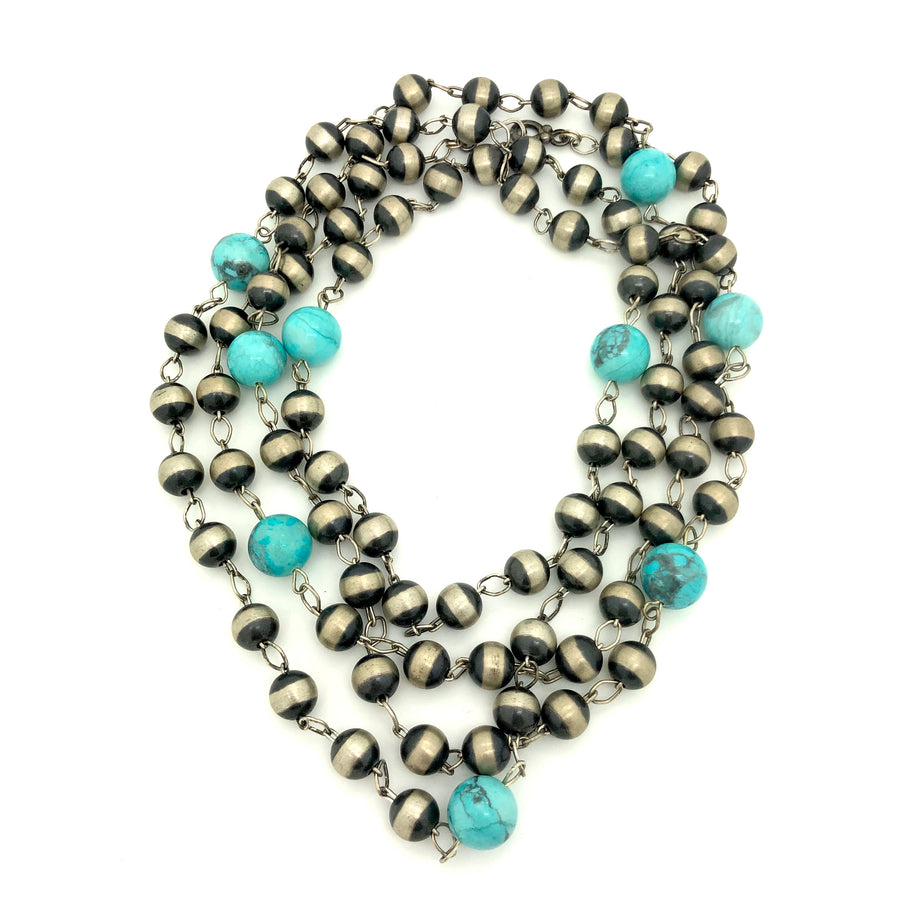 Turquoise Sky & Navajo Pearl Necklace