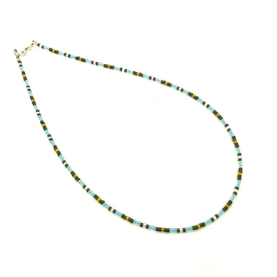 Dainty Blue Skies Beaded Necklace