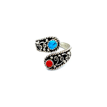 Coral and Turquoise Wrap Ring