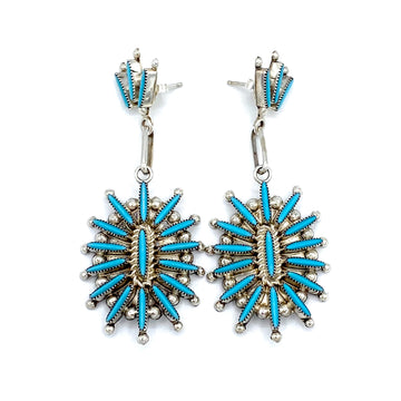 Needlepoint Turquoise Cluster Earrings