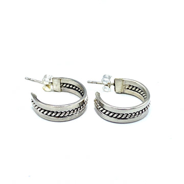 Twisted Sterling Hoop Earrings